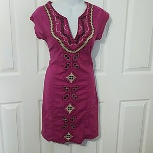 Glam Vintage soul embroidered women dress XS boho